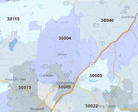 City Of Milton 30004 Map